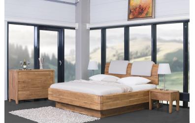 Manželská postel FANTAZIE Grande nastavitelné čelo oblé 180 cm buk cink