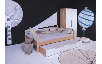 Dvoulůžko BUBLINY 140 buk cink, dětská postel z masivu