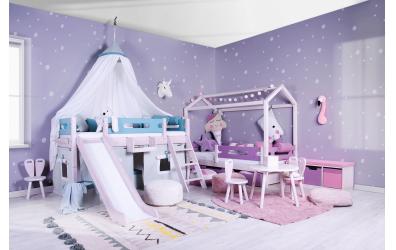 Jednolůžko nízké BUBLINY, buk cink, dětská postel z masivu