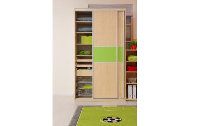 Skříň s posuvnými dveřmi 120 cm lamino, dveře smrk
