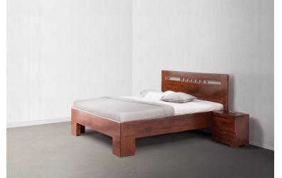 Manželská postel SOFIA čelo rovné čtverečky 180 cm buk cink