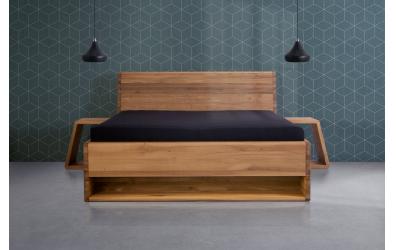 Manželská postel KUPÉ s nikou, divoký dub