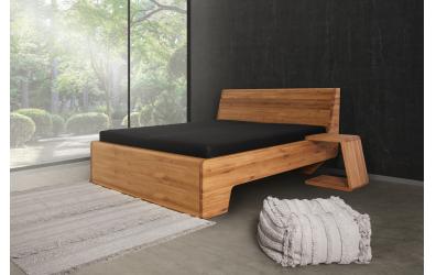 Manželská postel KUPÉ s plným čelem u nohou, divoký dub