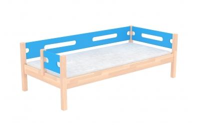 Jednolůžko BUBLINY dělené čelo levé buk cink, dětská postel z masivu