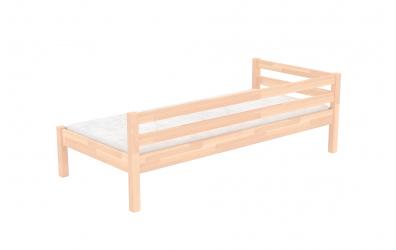 Jednolůžko se zábranou a nízkým čelem pravým buk cink, dětská postel z masivu