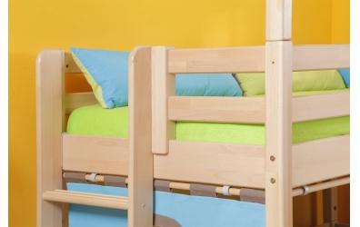 Jednolůžko s děleným čelem levé buk cink, dětská postel z masivu